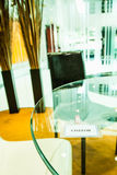 Visitor plastic card on glass table Royalty Free Stock Photography