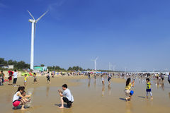 Visitor play on the sandy beach under wind turbine Stock Images