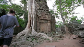 Visitor reading tourist information map in Ta Prohm temple, angkor Stock Images