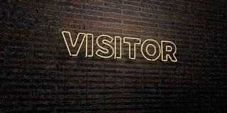 VISITOR -Realistic Neon Sign on Brick Wall background - 3D rendered royalty free stock image Royalty Free Stock Photo