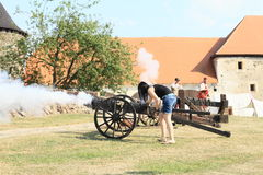 Visitor shooting from cannon Stock Image