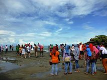 Visitor Tanah lot Stock Photography
