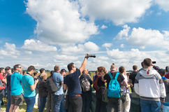 Visitors of an air show Stock Images