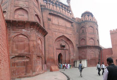 Visitors approach the Red Fort's main gate Stock Photo
