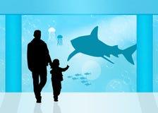 Visitors in the aquarium Royalty Free Stock Photo