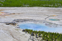 Visitors around the Excelsior Geyser Crater Stock Photography