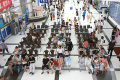 Visitors in bank office. For business, queueing and waiting visitors sitting in seats Stock Images