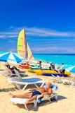 Visitors at the beautiful cuban beach of Varadero Royalty Free Stock Photos