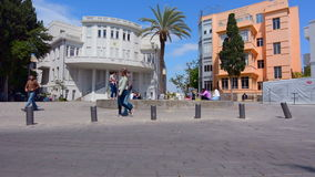 Visitors in Bialik Square in Tel Aviv, Israel.I stock footage