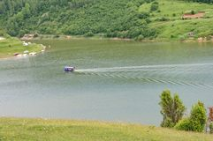 Visitors boat at the River Uvac in Serbia Stock Photo