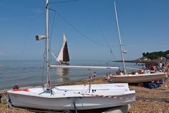 Visitors and Boats at Whitstable Kent, UK Royalty Free Stock Photos
