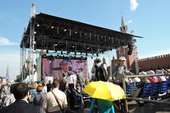 Visitors of the Book Fair Red Square listen to Evgeny Evtushenko Royalty Free Stock Images