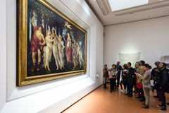 Visitors in Botticelli hall of Uffizi Gallery Stock Photography
