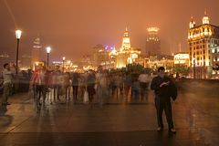 Visitors on The Bund or Waitan in Shanghai Stock Photo