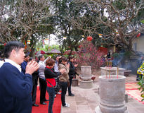 Visitors burning incense ceremony at Con Son Pagoda Stock Photography