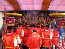 Visitors burning incense ceremony at Con Son Pagoda Royalty Free Stock Photo