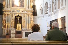Visitors in cathedral Stock Image