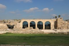 Caesarea Maritima national park in Israel. Visitors` center hosting a small museum in the Caesarea Maritima national park. Caesarea Maritima was an ancient city stock images