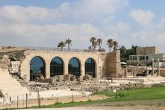 Caesarea Maritima national park in Israel. Visitors` center hosting a small museum in the Caesarea Maritima national park. Caesarea Maritima was an ancient city stock photography