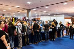 Visitors checking products at EECC 2017 Stock Image
