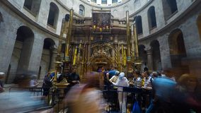 Visitors at the Church of the holy Sepulchre stock footage