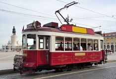 An old Tram at the Square of Commerce in Lisbon. Portugal stock photos