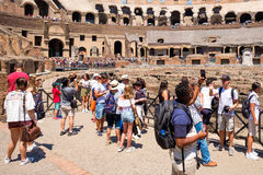 Visitors at the Colosseum in Rome on a sunny summer day Royalty Free Stock Image