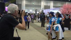 Visitors at Comic Con, Bangkok, Thailand - 21 April 2017 stock video