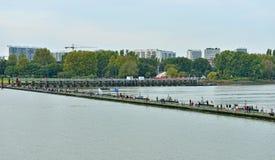 Visitors cross the pontoon bridge to commemorate victims of World War I. ANTWERP, BELGIUM-OCTOBER 04, 2014: Visitors cross the pontoon bridge to commemorate Royalty Free Stock Photos