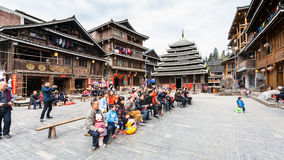 Visitors in Dong Culture Show in Chengyang Royalty Free Stock Photos