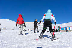 Visitors enjoy the snow skiing on the mountain of Falakro, Greec Royalty Free Stock Images