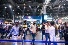 Visitors enjoying the auto expo 2016 Stock Photos
