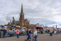 Visitors enjoying Largs Fair & Viking Food Festival stock image