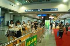 Visitors enter the exhibition hall, in Shenzhen animation festival activities Royalty Free Stock Photo
