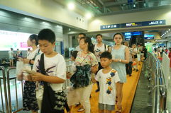 Visitors enter the exhibition hall, in Shenzhen animation festival activities Stock Photography