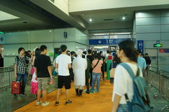 Visitors enter the exhibition hall, in Shenzhen animation festival activities Stock Images