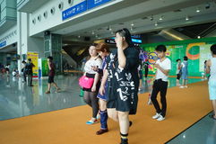 Visitors enter the exhibition hall, in Shenzhen animation festival activities Stock Photos