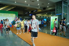 Visitors enter the exhibition hall, in Shenzhen animation festival activities Royalty Free Stock Image