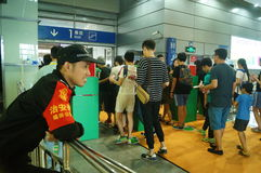 Visitors enter the exhibition hall, in Shenzhen animation festival activities Royalty Free Stock Images
