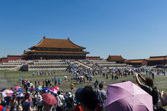 Visitors entering in the Forbidden City in Beijing, China. Stock Photography