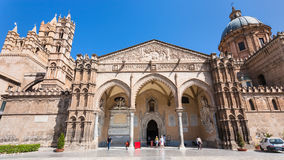 Visitors and entrace in Palermo Cathedral Royalty Free Stock Photo