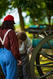 Visitors examine the cannons Royalty Free Stock Photo