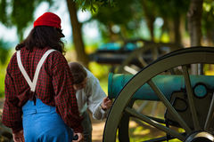 Visitors examine the cannons Royalty Free Stock Image