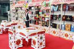 Visitors and exhibitors visiting the stands and exhibits at the. RUSSIA, MOSCOW - June 14, 2016: Visitors and exhibitors visiting the stands and exhibits at the Stock Photos
