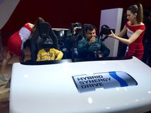 Visitors experiencing Auto Expo 2016 - India Stock Photography
