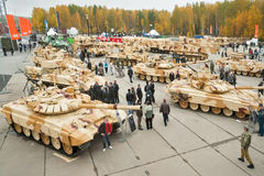 Visitors explore military vehicles on exhibition Royalty Free Stock Images