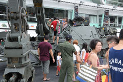 Visitors exploring the Armoured Engineer Vehicle at Army Open House 2017 in Singapore. royalty free stock photo