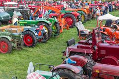 Visitors at an exposition of tractors during a Dutch agricultural festival Stock Photo