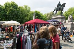 Visitors of the famous Stuttgart flea market Royalty Free Stock Photos