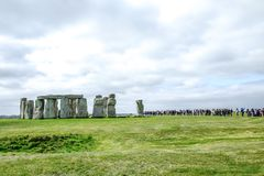 Visitors at the famous world heritage Stonehenge stock image